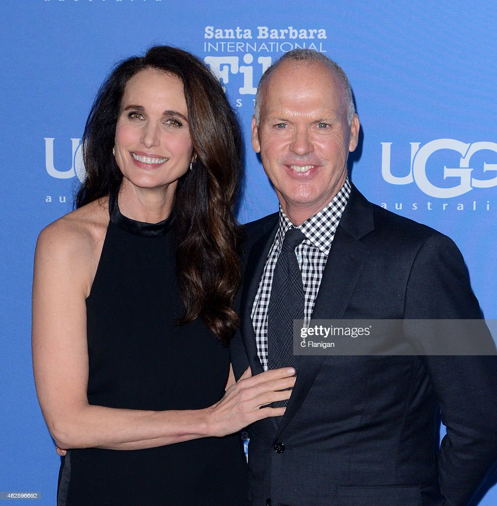 Actress Andie MacDowell and Actor Michael Keaton attend the Modern Master Award Ceremony during the 30th Annual Santa Barbara International Film...