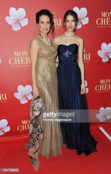 Actress Andie MacDowell and her daughter Sarah Margaret Qualley attend the 'Mon Cheri Barbara Day' Charity event at Muellersches Volksbad on December...
