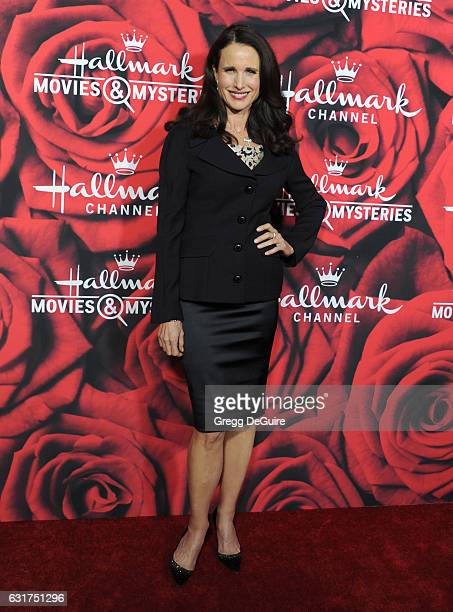 Actress Andie MacDowell arrives at Hallmark Channel And Hallmark Movies And Mysteries Winter 2017 TCA Press Tour at The Tournament House on January...