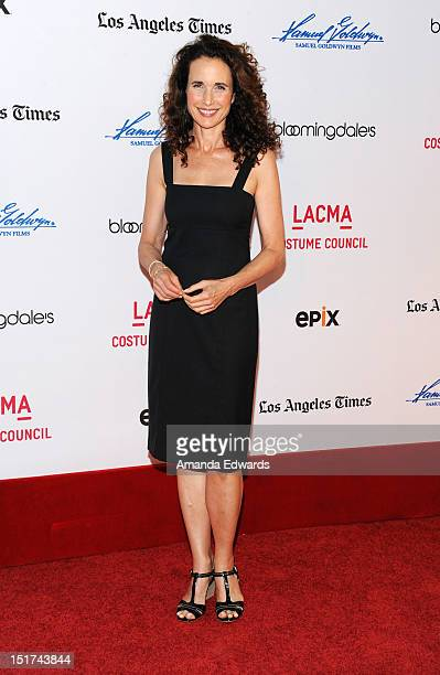 Actress Andie MacDowell arrives at LACMA hosts special screening of 'Diana Vreeland The Eye Has To Travel' at the Bing Theatre At LACMA on September...