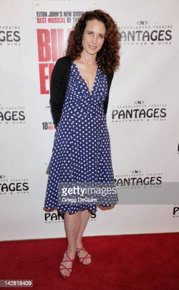 Actress Andie MacDowell arrives at Los Angeles opening night of 'Billy Elliot' at the Pantages Theatre on April 12 2012 in Hollywood California