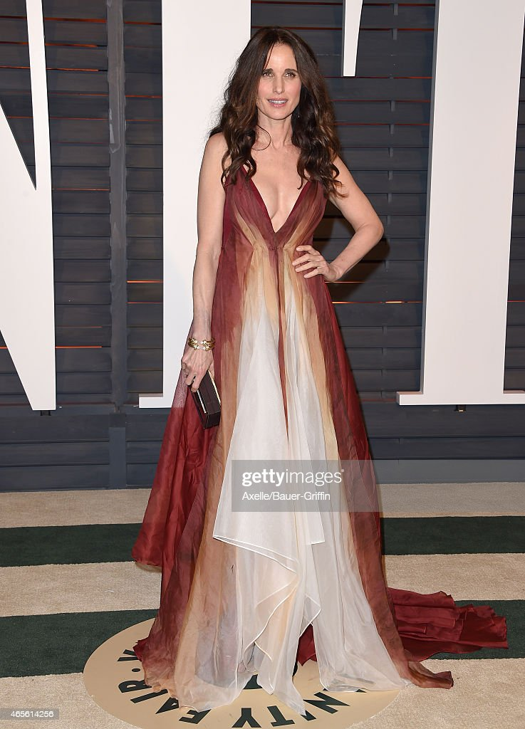 Actress Andie MacDowell arrives at the 2015 Vanity Fair Oscar Party Hosted By Graydon Carter at Wallis Annenberg Center for the Performing Arts on...