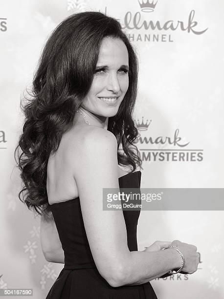 Actress Andie MacDowell arrives at the Hallmark Channel and Hallmark Movies and Mysteries Winter 2016 TCA Press Tour at Tournament House on January 8...