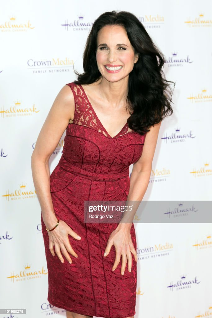 Actress Andie MacDowell arrives at the Hallmark Channel Hallmark Movie Channel 2014 Winter TCA Party at The Huntington Library and Gardens on January...