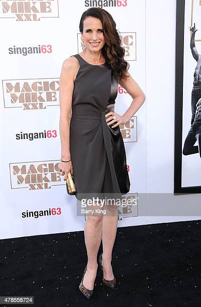 Actress Andie MacDowell arrives at the Los Angeles World Premiere of Warner Bros Pictures 'Magic Mike XXL' at TCL Chinese Theatre on June 25 2015 in...