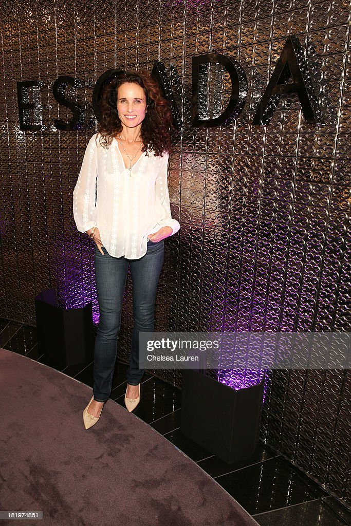 Actress <a gi-track='captionPersonalityLinkClicked' href=/galleries/search?phrase=Andie+MacDowell&family=editorial&specificpeople=204572 ng-click='$event.stopPropagation()'>Andie MacDowell</a> attends ESCADA and W Magazine's celebration of Cool Earth with hosts Daniel Wingate, Suzanne Todd and Jennifer Todd at Escada Boutique on September 26, 2013 in Beverly Hills, California.