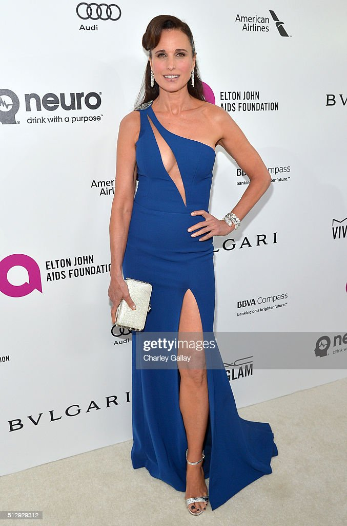 Actress Andie Macdowell attends Neuro at the 24th Annual Elton John AIDS Foundation's Oscar Viewing Party at The City of West Hollywood Park on...