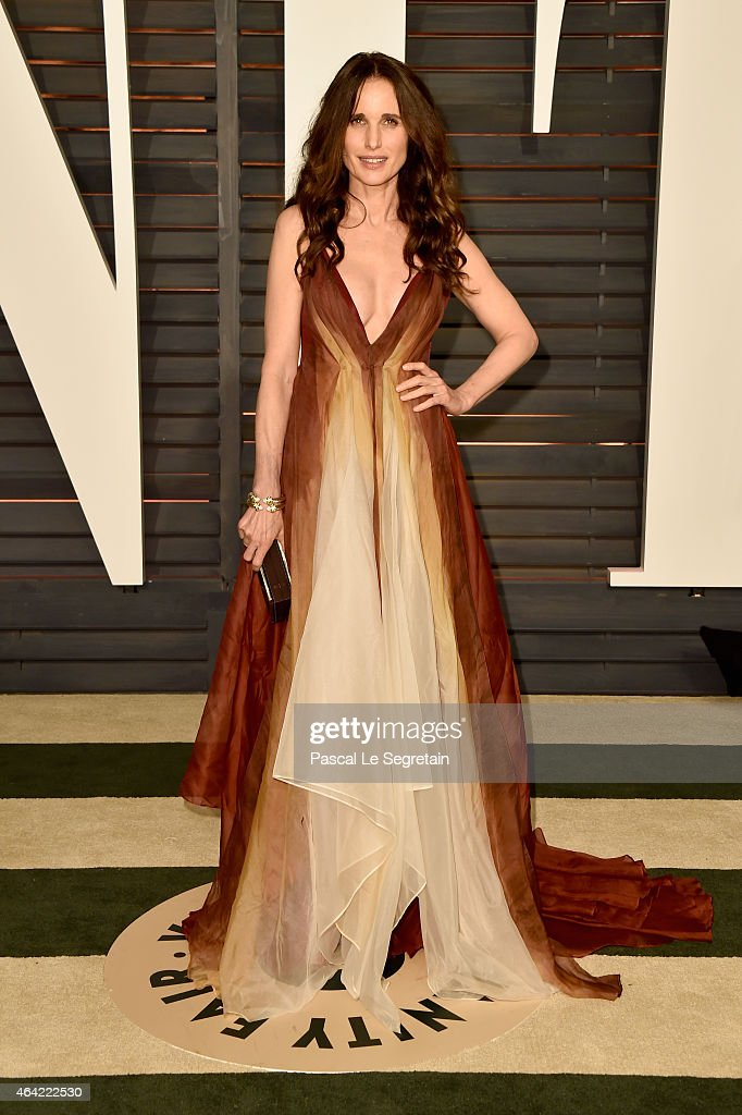 Actress Andie MacDowell attends the 2015 Vanity Fair Oscar Party hosted by Graydon Carter at Wallis Annenberg Center for the Performing Arts on...