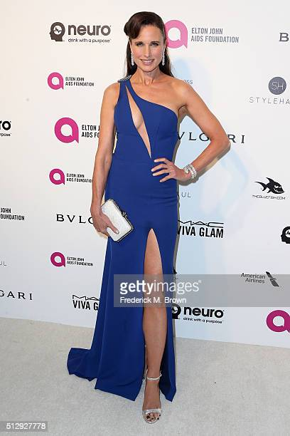 Actress Andie MacDowell attends the 24th Annual Elton John AIDS Foundation's Oscar Viewing Party on February 28 2016 in West Hollywood California