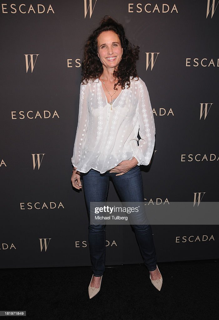 Actress <a gi-track='captionPersonalityLinkClicked' href=/galleries/search?phrase=Andie+MacDowell&family=editorial&specificpeople=204572 ng-click='$event.stopPropagation()'>Andie MacDowell</a> attends the 'Celebrate Cool Earth' benefit for the Cool Earth Foundation at Escada Boutique on September 26, 2013 in Beverly Hills, California.