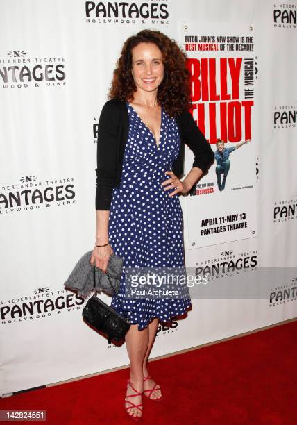 Actress Andie MacDowell attends the opening night of 'Billy Elliot' at the Pantages Theatre on April 12 2012 in Hollywood California