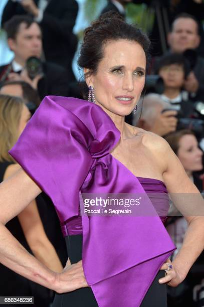 Actress Andie MacDowell attends the 'The Meyerowitz Stories' screening during the 70th annual Cannes Film Festival at Palais des Festivals on May 21...