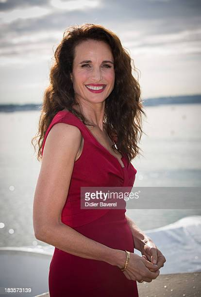 Actress Andie MacDowell poses during the photocall of TV serie 'Cedar Cove' at Mipcom on October 7 2013 in Cannes France