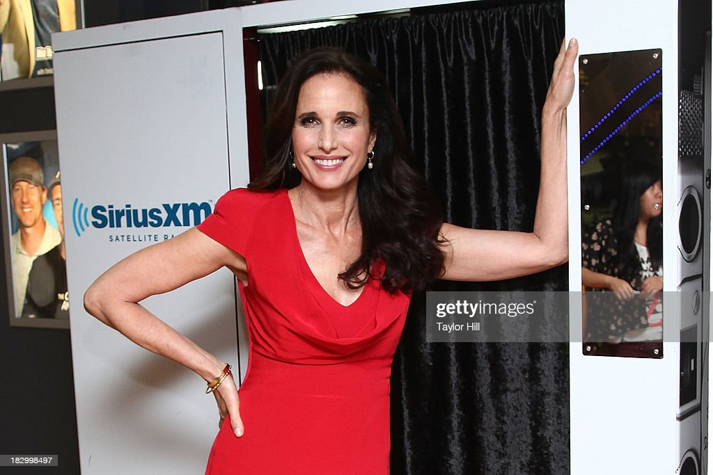 Actress <a gi-track='captionPersonalityLinkClicked' href=/galleries/search?phrase=Andie+MacDowell&family=editorial&specificpeople=204572 ng-click='$event.stopPropagation()'>Andie MacDowell</a> visits the SiriusXM Studios on October 3, 2013 in New York City.