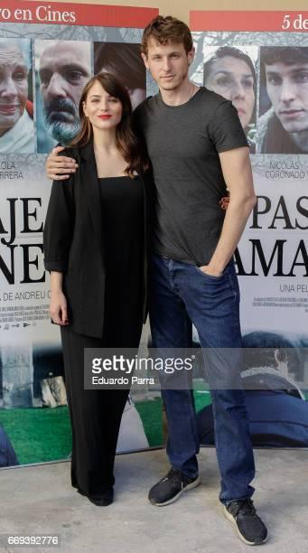 Actress Andrea Duro and actor Nicolas Coronado attend the 'Pasaja al amanecer' photocall at Alma Club on April 17 2017 in Madrid Spain