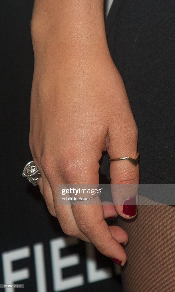 Actress Andrea Guasch, ring detail, attends the Springfield fashion film presentation photocall at Fortuny palace on May 05, 2016 in Madrid, Spain.