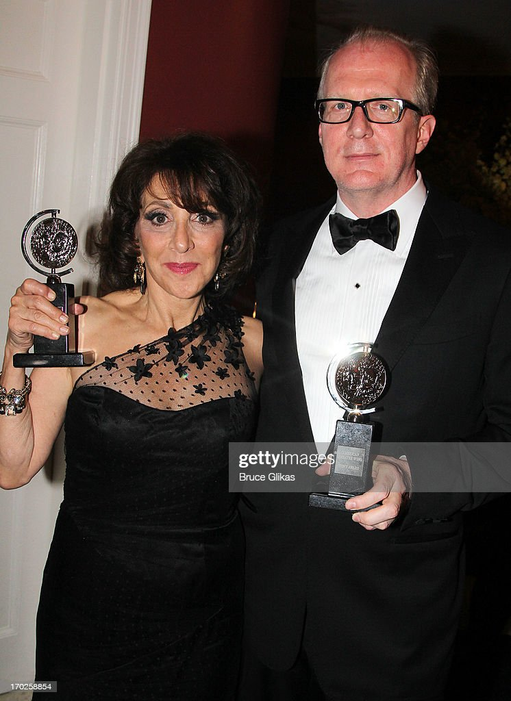 Actress Andrea Martin, winner of Best Performance by a Featured Actress in a Musical for her role in 'Pippin ' and actor Tracy Letts, winner of Best Performance by a Leading Actor in a Play for his role in 'Who's Afraid of Virginia Woolf?' pose together in the press room during the 67th Annual Tony Awards at the on June 9, 2013 in New York City.
