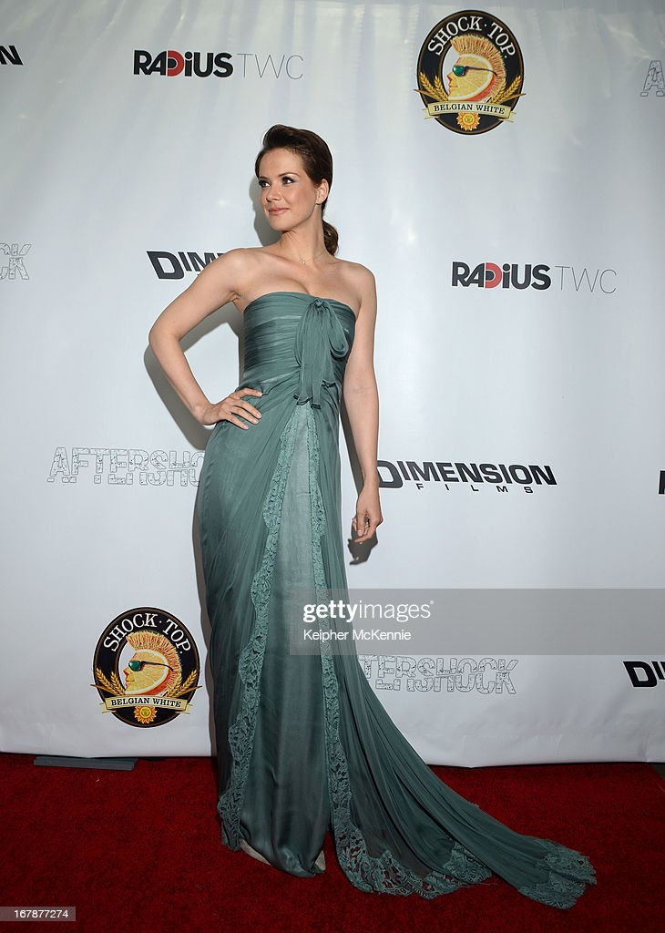 Actress Andrea Osvart arrives for the Aftershock premiere at Mann Chinese 6 on May 1, 2013 in Los Angeles, California.