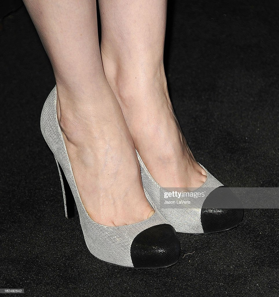 Actress Andrea Riseborough (shoe detail) attends the Chanel Pre-Oscar dinner at Madeo Restaurant on February 23, 2013 in Los Angeles, California.