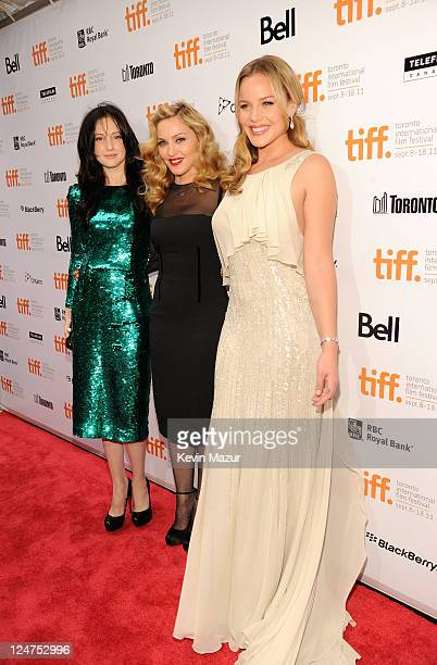 Actress Andrea Riseborough director Madonna and actress Abbie Cornish pose for the portrait at 'WE' Premire at TIFF Bell Lightbox during the 2011...