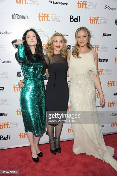 Actress Andrea Riseborough director Madonna and actress Abbie Cornish arrive at 'WE' Premiere at Roy Thomson Hall during the 2011 Toronto...