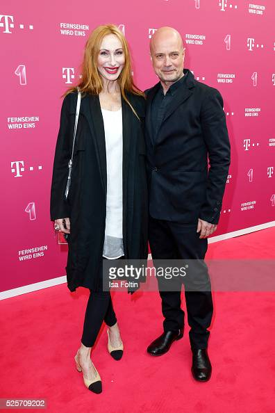 Actress Andrea Sawatzki and her husband actor Christian Berkel attend the Telekom Entertain TV Night at Hotel Zoo on April 28 2016 in Berlin Germany