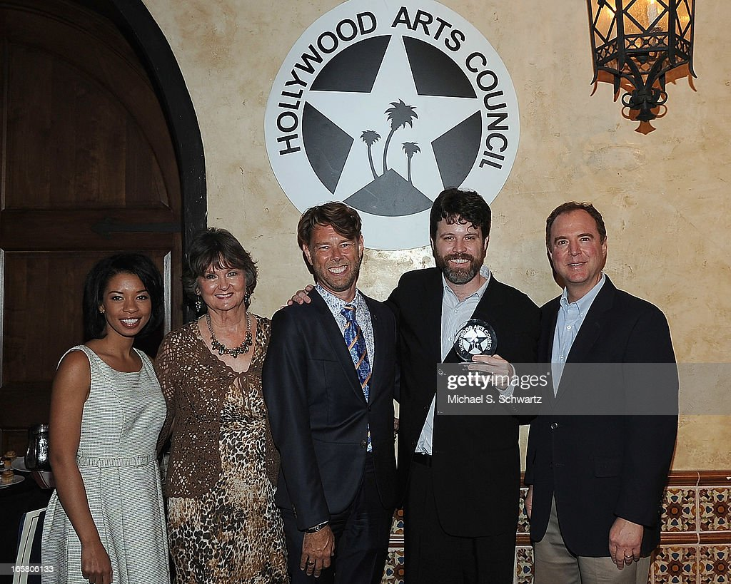 Actress Angel Parker, Hollywood Arts Council President Nyla Arslanian, Hollywood Arts Council Vice President Daniel Henning, Director Hollywood Fringe Festval Ben Hill accepting the Theatre Arts Charlie award and Congressman Adam Schiff attend the Hollywood Arts Council's 27th Annual Charlie Awards Luncheon at the Hollywood Roosevelt Hotel on April 5, 2013 in Hollywood, California.