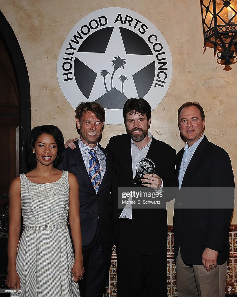 Actress Angel Parker, Hollywood Arts Council Vice President Daniel Henning, Director Hollywood Fringe Festval Ben Hill accepting the Theatre Arts Charlie award and Congressman Adam Schiff attend the Hollywood Arts Council's 27th Annual Charlie Awards Luncheon at the Hollywood Roosevelt Hotel on April 5, 2013 in Hollywood, California.