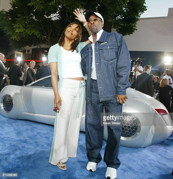 Actress Angela Bassett and actor Courtney BVance attent the premiere of 20th Century Fox's 'I Robot' at the Village Theater on July 7 2004 in Los...