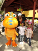 Actress Angela Bassett and children Slater and Bronwyn attend the Jim Henson Company and PBS SoCal Dinosaur Train Event at Los Angeles Live Steamers...
