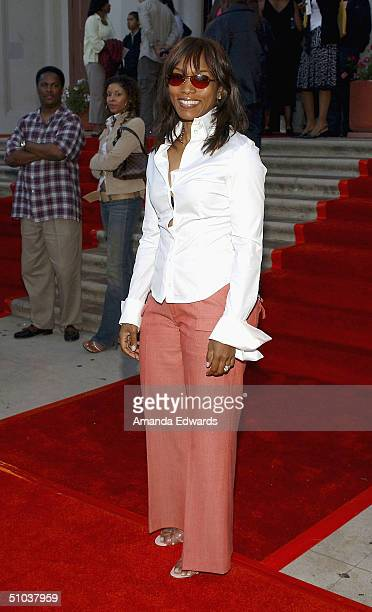 Actress Angela Bassett arrives at the Ephraim's Song benefit on July 8 2004 at the Norman J Pattiz Concert Hall in Los Angeles California