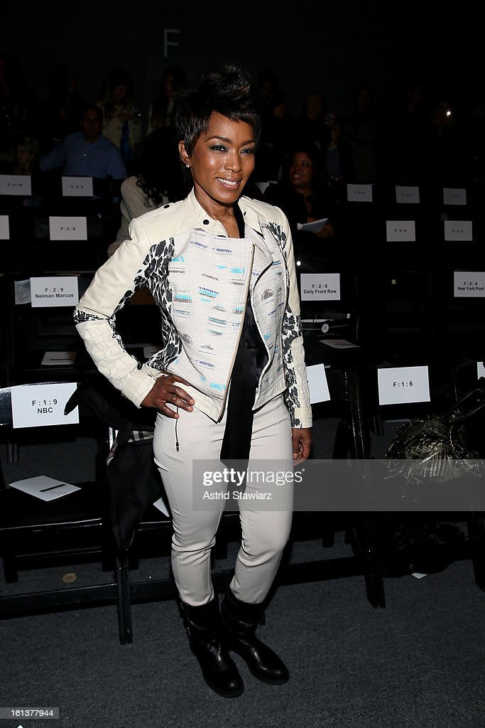 Actress <a gi-track='captionPersonalityLinkClicked' href=/galleries/search?phrase=Angela+Bassett&family=editorial&specificpeople=171174 ng-click='$event.stopPropagation()'>Angela Bassett</a> attends the Tracy Reese Fall 2013 fashion show with TRESemme during Mercedes-Benz Fashion Week at The Studio at Lincoln Center on February 10, 2013 in New York City.