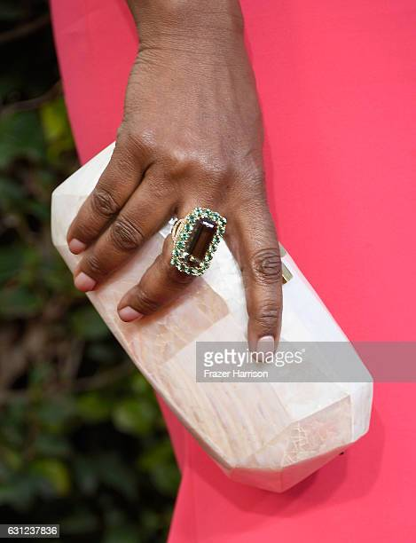 Actress Angela Bassett fashion detail attends the 74th Annual Golden Globe Awards at The Beverly Hilton Hotel on January 8 2017 in Beverly Hills...