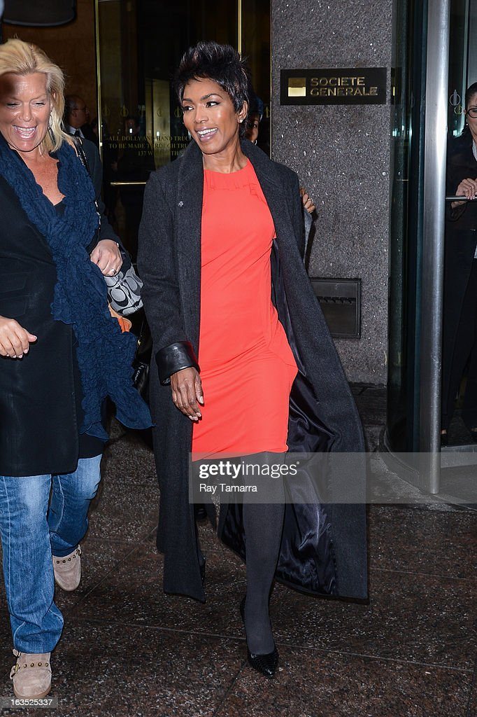 Actress Angela Bassett leaves the Sirius XM Studios on March 11, 2013 in New York City.