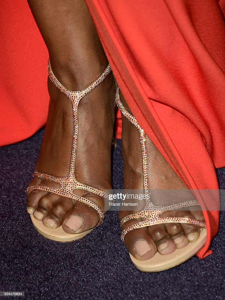 Actress Angela Bassett shoe and pedicure details attends InStyle and Warner Bros 73rd Annual Golden Globe Awards PostParty at The Beverly Hilton...