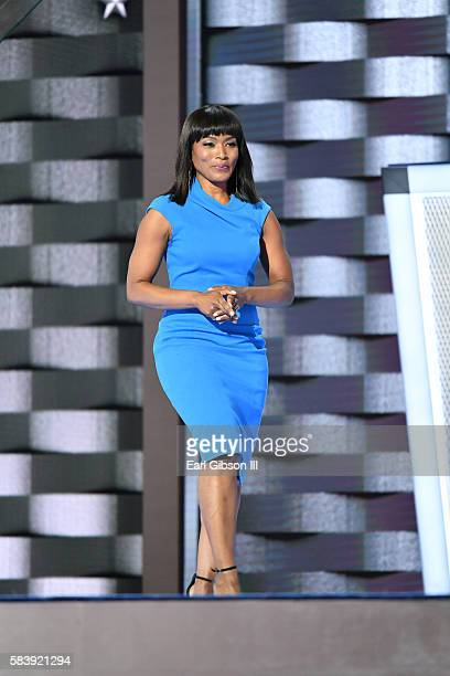 Actress Angela Bassett speaks at the 2016 Democratic National ConventionDay 3 at Wells Fargo Center on July 27 2016 in Philadelphia Pennsylvania