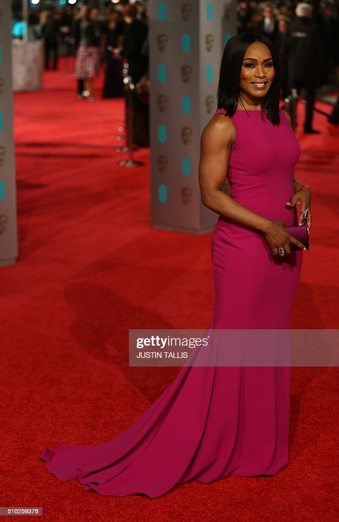 US actress Angela Evelyn Bassett poses on arrival for the BAFTA British Academy Film Awards at the Royal Opera House in London on February 14, 2016. TALLIS