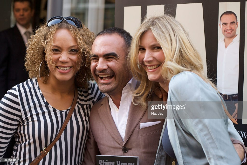 Actress Angela Griffin Andrew Barton and Actress Lisa Faulkner attend the book launch for Andrew Barton's 'Shiny Happy Hair' on May 18 2010 in London...