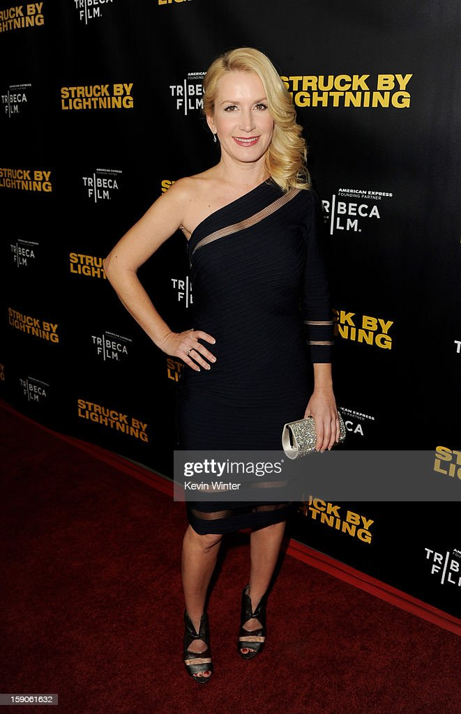 Actress Angela Kinsey arrives at a screening of Tribeca Film's 'Struck By Lightning' at the Chinese Cinema 6 Theaters on January 6, 2013 in Los Angeles, California.
