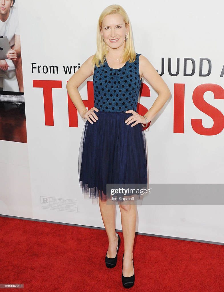 Actress Angela Kinsey arrives at the Los Angeles Premiere 'This Is 40' at Grauman's Chinese Theatre on December 12, 2012 in Hollywood, California.