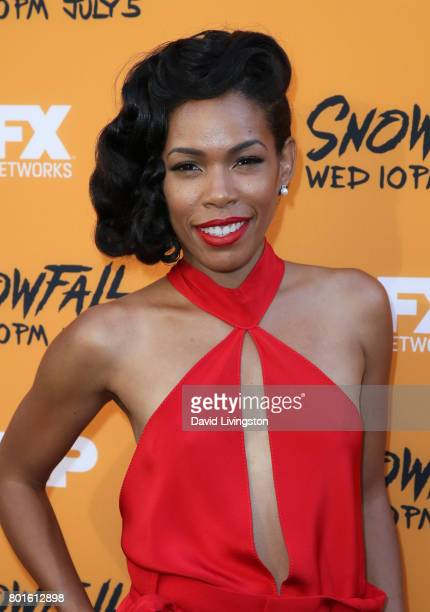 Actress Angela Lewis attends the premiere of FX's 'Snowfall' at The Theatre at Ace Hotel on June 26 2017 in Los Angeles California