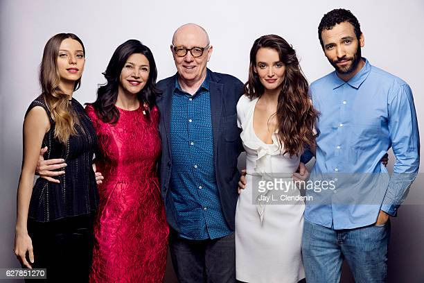 Actress Angela Sarafyan actress Shohreh Aghdashloo Terry George actress Charlotte Le Bon and Marwan Kenzari from the film 'The Promise' pose for a...