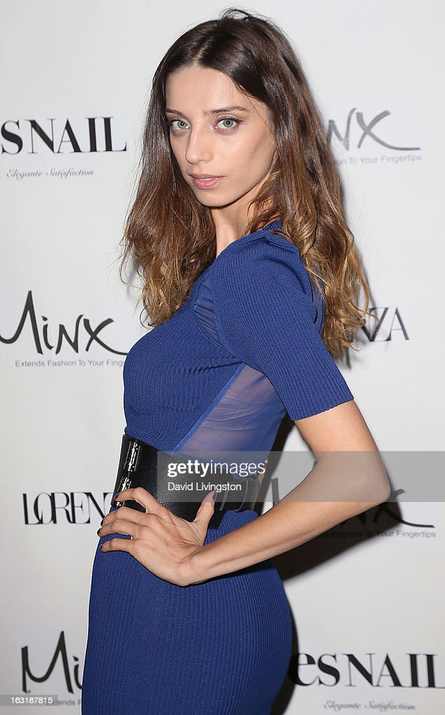 Actress Angela Sarafyan attends the launch event for Minx's newest nail line at esNail on March 5, 2013 in Los Angeles, California.