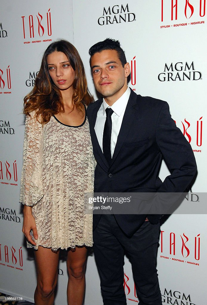 Actress Angela Sarafyn (L) and actor <a gi-track='captionPersonalityLinkClicked' href=/galleries/search?phrase=Rami+Malek&family=editorial&specificpeople=2194697 ng-click='$event.stopPropagation()'>Rami Malek</a> arrive at the Tabu Ultra Lounge at the MGM Grand Hotel/Casino on November 17, 2012 in Las Vegas, Nevada.