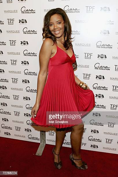 Actress Angela Simmons arrives at singer Ciara's 21st birthday party at Marquee night club on October 25 2006 in New York City