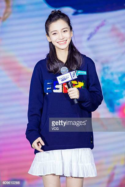 Actress Angelababy attends endorsement event of a beverage brand 'Aquarius' on September 21 2016 in Hangzhou Zhejiang Province of China