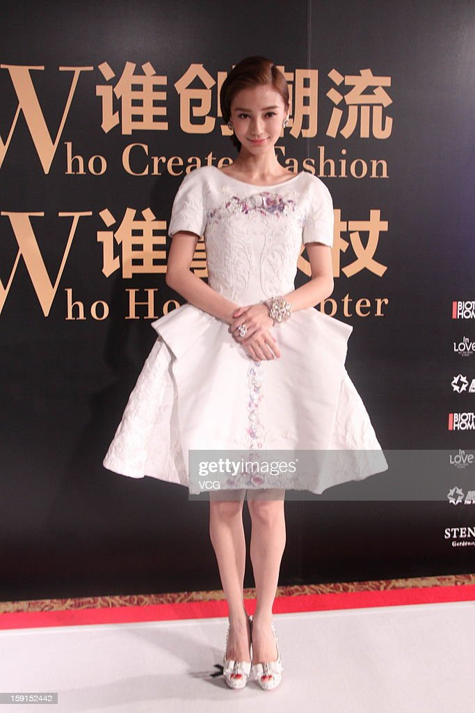 Actress Angelababy attends the Sohu Fashion Achievement Awards at China World Hotel Beijing on January 8, 2013 in Beijing, China.