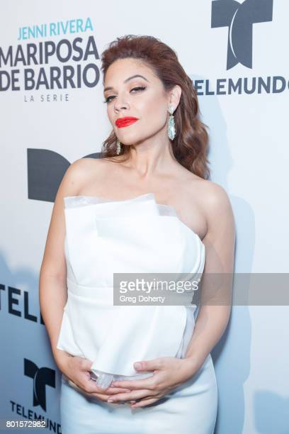 Actress Angelica Celaya arrives for the Screening Of Telemundo's 'Jenni Rivera Mariposa De Barrio' at The GRAMMY Museum on June 26 2017 in Los...