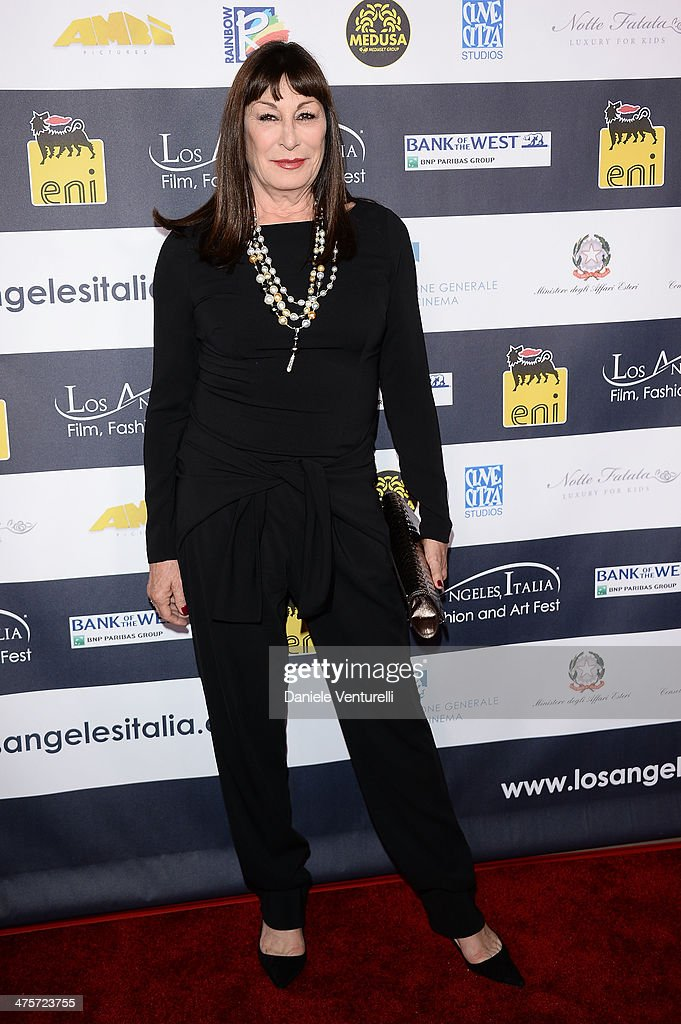 Actress Angelica Huston attends the 9th Annual L.A. Italia Film, Fashion And Art's Festival Closing Night Awards Ceremony at TCL Chinese Theatre on February 28, 2014 in Hollywood, California.