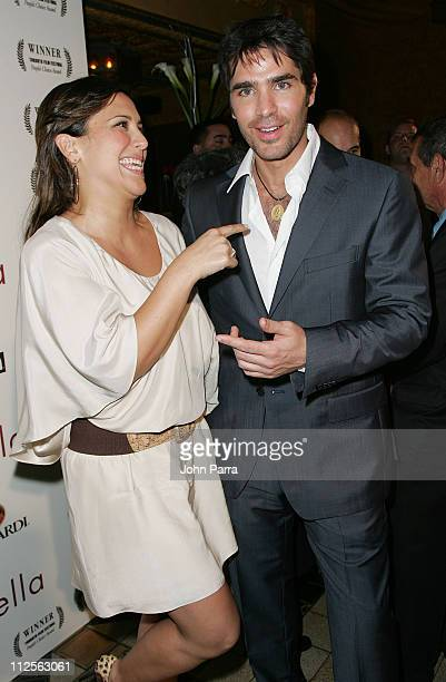 Actress Angelica Vale and actor Eduardo Verastegui pose during the premiere of the movie 'Bella' at the Gusman Theatre on October 23 2007 in Miami...